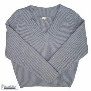 Garage Women's V Neck Knitted Sweater Blue